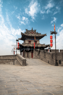 ancient turret on city wall in xian