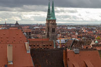View from Nuremberg castle at the old city of Nuremberg, Bavaria, Germany