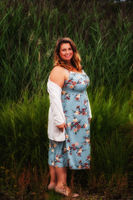 Thick woman in summer dress