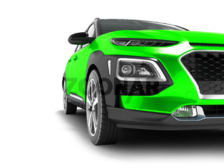 Modern green car crossover for travel with black insets in front 3d render on white background with shadows
