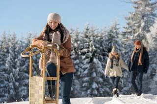 Young woman sunny winter lean against sledge
