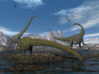 Mamenchisaurus dinosaurs walk and drink - 3D render