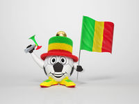 Soccer character fan supporting Mali