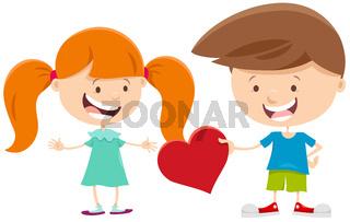 valentine card with cute cartoon children