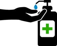 using hand sanitizer symbol or icon, covid-19 coronavirus safety measure