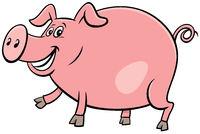 happy pig farm animal character cartoon illustration