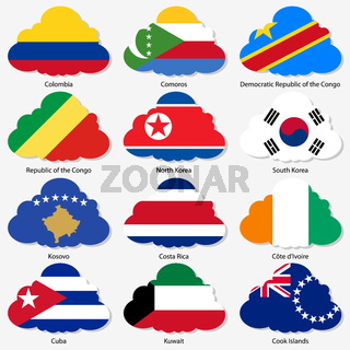 Set  Flags of world sovereign states in  form  clouds. Vector illustration. Set number 8.