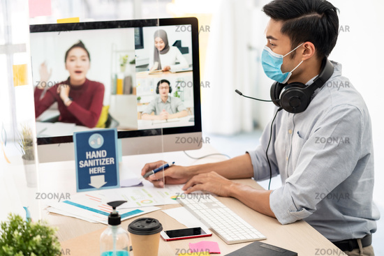 Asian businessman work from home involved video conference meeting.