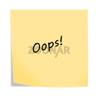 oops 3d illustration post note reminder on white with clipping path