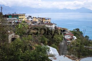 Indigenous mountain village along lake Atitlan, Santa Cruz La Laguna, Guatemala