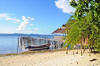 Hut on the beach at Kri Raja Ampat Indonesia