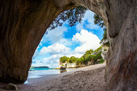 The Cathedral Cave on the sandy beach
