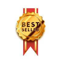 Bright golden badge with red tape, glossy best seller icon on white