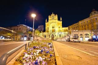 Rijeka church and square evening street view