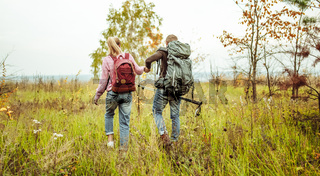 Rear view of a traveling couple of backpacker wading outdoors through an autumn field holding hands with hiking poles. Hiking concept