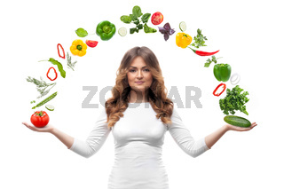 smiling woman with vegetables isolated