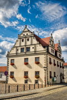 niemegk, germany - 17.07.2019 - town hall on market square