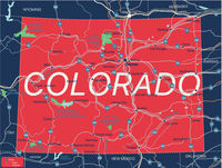 Colorado state detailed editable map