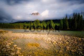 Castle Mountain at Bow river in Alberta