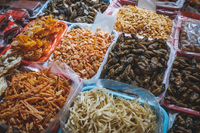 Dried squid, shellfish and seafood on fish market in Hongkong