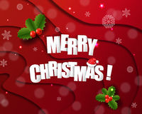 Xmas Card With Holly Berry Red Background