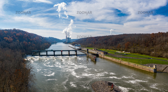Fort Martin coal power station on River Monongahela near Point Marion and Morgantown