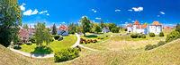 Varazdin. Historic town of Varazdin landmarks and green landscape panoramic view,
