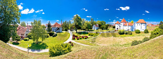 Varazdin. Historic town of Varazdin landmarks and green landscape panoramic view,