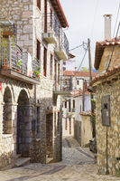 Picturesque cobbled street in Arachova in Greece