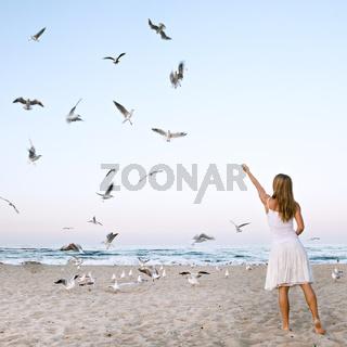 Woman at Beach are Feeding Seagulls