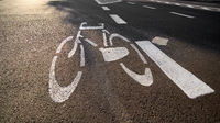 Marking for a cycle path on a road in Swinoujscie, Poland