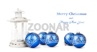 Blue Christmas balls and vintage lantern isolated on white background