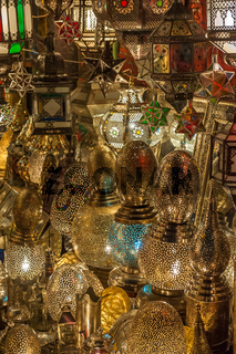 Traditional Moroccan lantern in antique shop, Marrakesh, Morocco