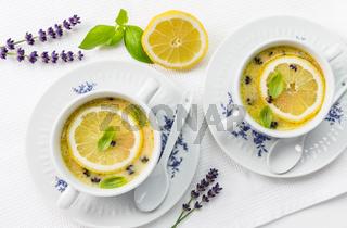 Avgolemono - delicious Greek chicken egg and lemon soup. Mediterranean sauce or soup.