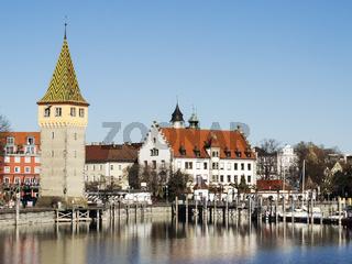 Lindau harbor with buildings