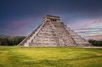 Dark sky at sunset over Maya pyramid Chichen Itza, Yucatan, Mexico