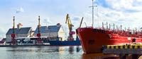 sea port, port cranes, gantry crane, ice-free Russian port on the Baltic sea Kaliningrad