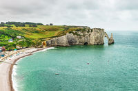 Panorama of natural chalk cliffs of Etretat