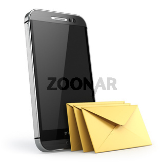 Mobile phone with short message service. Smartphone with envelopes. Sms concept.