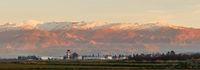Granada airport against Sierra Nevada mountains Andalusia, Spain