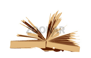 Open book isolated on white background. A book is a medium for recording information in the form of writing or images, typically composed of many pages bound together and protected by a cover
