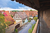 Historic walls and rooftops in town of Rothenburg ob der Tauber view