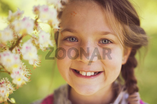 girl with blooming chestnut