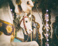 Carousel white horses with vintage look