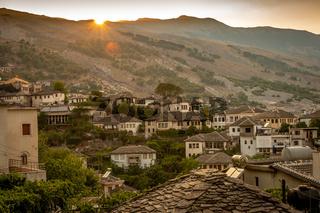 Sunset over the old town of Gjirokaster, Albania