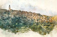 Digital watercolor of Bocairent village. Spain