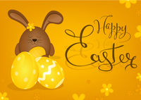 Happy Easter Greeting Card with Bunny on Yellow Background