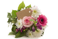 Bouquet with beautiful rose, card and copyspace