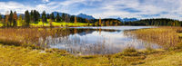 panorama landscape in Bavaria with Karwendel mountains and lake