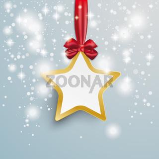 Golden Star Snow Lights Red Ribbon PiAd